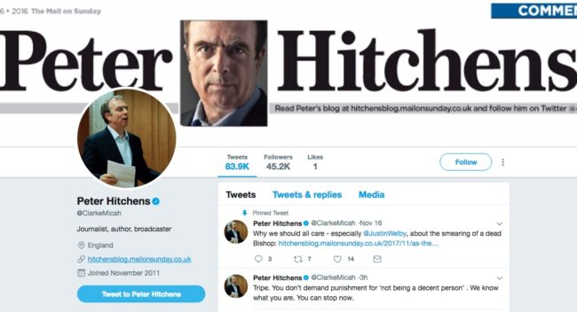 Peter Hitchens Twitter