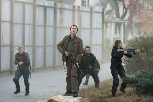 Melissa McBride as Carol Peletier, Khary Payton as Ezekiel, Jordan Woods-Robinson as Eric, Kerry Cahill as Dianne - The Walking Dead _ Season 7, Episode 16 - Photo Credit: Gene Page/AMC