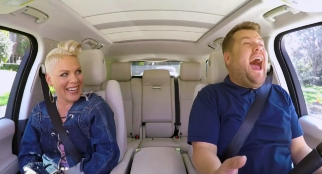 Pink Does Carpool Karaoke Upside Down, Becomes a Singing Superhero