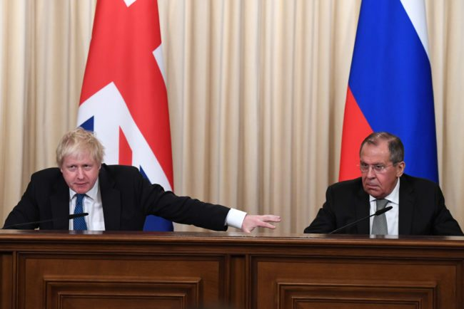 Boris Johnson spars with Russian counterpart