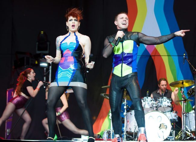 LONDON - JULY 17:   Jake Shears and Ana Matronic of the Scissor Sisters perform on day 3 of Lovebox on July 17, 2011 in Victoria Park in London, England. (Photo by Samir Hussein/Getty Images)
