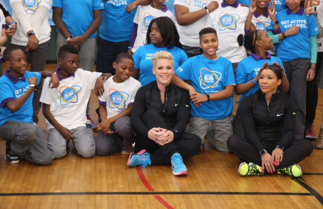NEW YORK, NY - NOVEMBER 30:  Grammy award winner P!nk celebrates nationwide launch of UNICEF Kid Power with NYC school children at PS 242 on November 30, 2015 in New York City.  (Photo by Cindy Ord/Getty Images for UNICEF)