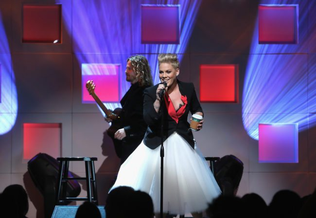 NEW YORK, NY - DECEMBER 01:  P!nk performs on stage at the 11th Annual UNICEF Snowflake Ball Honoring Orlando Bloom, Mindy Grossman And Edward G. Lloyd at Cipriani, Wall Street on December 1, 2015 in New York City.  (Photo by Jemal Countess/Getty Images for UNICEF)