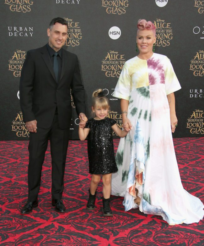 "HOLLYWOOD, CA - MAY 23: (L-R) Motorcycle Racer Carey Hart, Willow Sage Hart and singer-songwriter P!nk attend the premiere of Disney's ""Alice Through The Looking Glass at the El Capitan Theatre on May 23, 2016 in Hollywood, California. (Photo by Frederick M. Brown/Getty Images)"