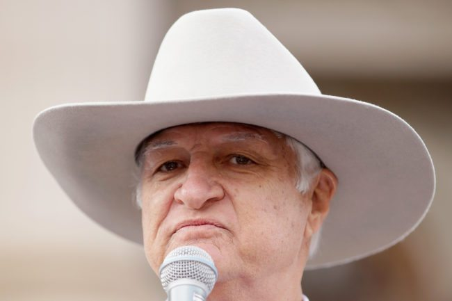 MELBOURNE, AUSTRALIA - MAY 25: Bob Katter MP speaks on the steps of Parliament House on May 25, 2016 in Melbourne, Australia. The Federal Government is expected to announce an assistance package for dairy farmers, who have been struggling due to falling milk prices in recent months. (Photo by Darrian Traynor/Getty Images)
