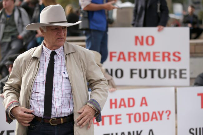 MELBOURNE, AUSTRALIA - MAY 25:  Bob Katter MP speaks to Dairy Farmers on May 25, 2016 in Melbourne, Australia. The Federal Government is expected to announce an assistance package for dairy farmers, who have been struggling due to falling milk prices in recent months.  (Photo by Darrian Traynor/Getty Images)