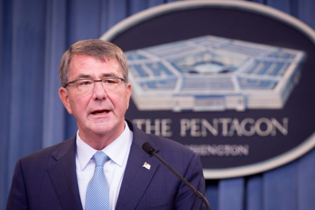 ARLINGTON, VA - JUNE 30:  Secretary of Defense Ash Carter speaks during a press conference on June 30, 2016 at the Pentagon in Arlington, Virginia. Carter announced an expanded policy of acceptance regarding transgender U.S. military service members. (Photo by Allison Shelley/Getty Images)