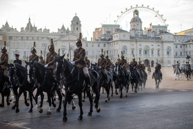 LONDON, ENGLAND - JULY 07: Troops from the Household Division process out of Horse Guards Parade on July 7, 2017 in London, England. The Household Division rehearse during the early hours of the morning today ahead of next week's State Visit by the King and Queen of Spain. Britain's Queen Elizabeth and Prince Philip, Duke of Edinburgh will host Spain's King Felipe and Queen Letitzia at Buckingham Palace during their State Visit from Wednesday 12th to Friday 14th July, 2017. (Photo by Jack Taylor/Getty Images)