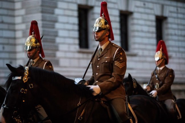 LONDON, ENGLAND - JULY 07: Troops from the Household Division process down Horse Guards Road on July 7, 2017 in London, England. The Household Division rehearse during the early hours of the morning today ahead of next week's State Visit by the King and Queen of Spain. Britain's Queen Elizabeth and Prince Philip, Duke of Edinburgh will host Spain's King Felipe and Queen Letitzia at Buckingham Palace during their State Visit from Wednesday 12th to Friday 14th July, 2017. (Photo by Jack Taylor/Getty Images)