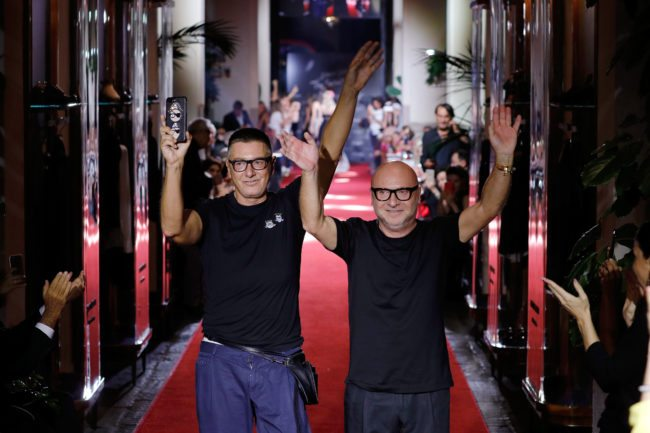 MILAN, ITALY - SEPTEMBER 23: Stefano Gabbana and Domenico Dolce walks the runway at the Dolce & Gabbana secret show during Milan Fashion Week Spring/Summer 2018 at Bar Martini on September 23, 2017 in Milan, Italy. (Photo by Andreas Rentz/Getty Images)