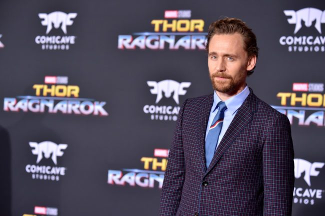 "LOS ANGELES, CA - OCTOBER 10: Actor Tom Hiddleston arrives at the Premiere Of Disney And Marvel's ""Thor: Ragnarok"" - Arrivals on October 10, 2017 in Los Angeles, California. (Photo by Frazer Harrison/Getty Images)"