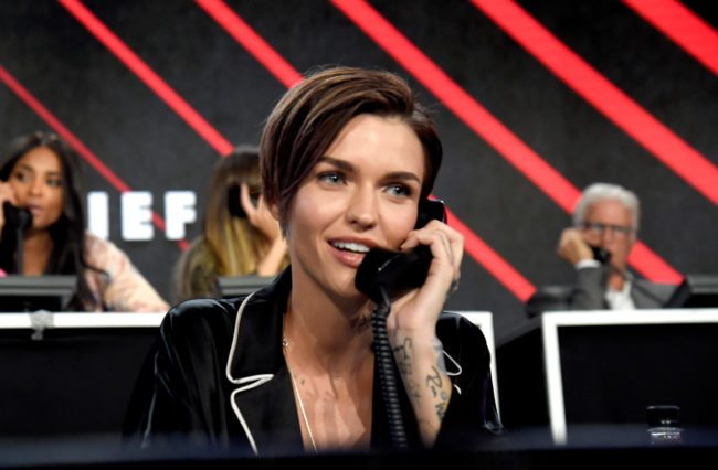 """LOS ANGELES, CA - OCTOBER 14:  In this handout photo provided by One Voice: Somos Live!, actor Ruby Rose participates in the phone bank onstage during """"One Voice: Somos Live! A Concert For Disaster Relief"""" at the Universal Studios Lot on October 14, 2017 in Los Angeles, California.  (Photo by Kevin Mazur/One Voice: Somos Live!/Getty Images)"""