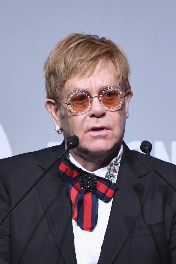 NEW YORK, NY - NOVEMBER 07: Sir Elton John speaks onstage at the Elton John AIDS Foundation Commemorates Its 25th Year And Honors Founder Sir Elton John During New York Fall Gala at Cathedral of St. John the Divine on November 7, 2017 in New York City. (Photo by Dimitrios Kambouris/Getty Images)