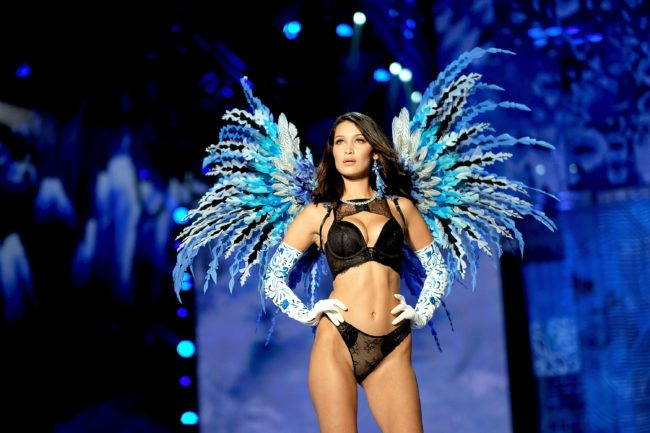 SHANGHAI, CHINA - NOVEMBER 20:  Bella Hadid walks the runway during the 2017 Victoria's Secret Fashion Show In Shanghai at Mercedes-Benz Arena on November 20, 2017 in Shanghai, China.  (Photo by Matt Winkelmeyer/Getty Images for Victoria's Secret)