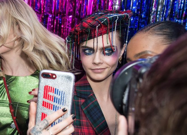LONDON, ENGLAND - DECEMBER 02: Cara Delevingne hosts the Burberry x Cara Delevingne Christmas Party on December 2, 2017 in London, England. (Photo by Kirstin Sinclair/Getty Images for Burberry)