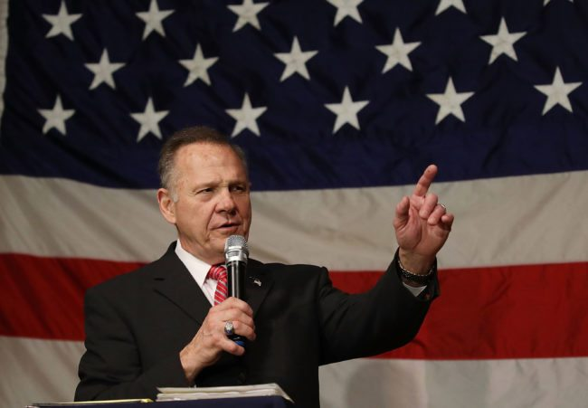 FAIRHOPE, AL - DECEMBER 05:  Republican Senatorial candidate Roy Moore speaks during a campaign event at Oak Hollow Farm on December 5, 2017 in Fairhope, Alabama. Mr. Moore is facing off against Democrat Doug Jones in next week's special election for the U.S. Senate.  (Photo by Joe Raedle/Getty Images)