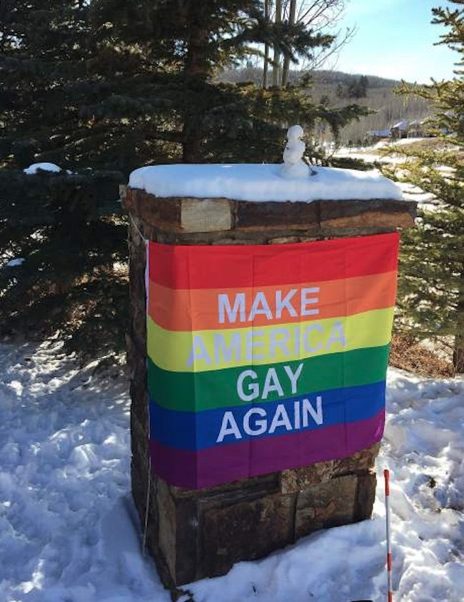 Mike Pence's neighbors put up a clever banner to protest his homophobia