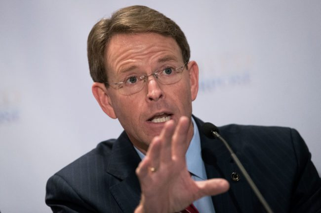 NEW YORK, NY - JUNE 21: Tony Perkins, president of the Family Research Council, speaks during a press conference following a meeting with Republican presidential candidate Donald Trump at the Marriott Marquis Hotel, June 21, 2016 in New York City. Donald Trump held a private closed-press meeting with hundreds of conservative Christians and evangelical leaders on Tuesday morning. (Photo by Drew Angerer/Getty Images)