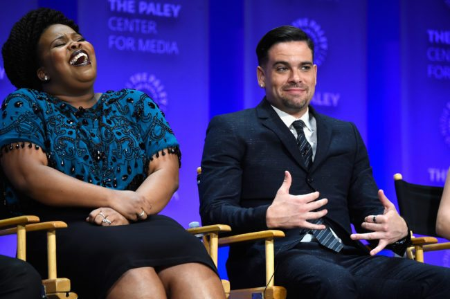 """HOLLYWOOD, CA - MARCH 13: Actress Amber Riley and actor Mark Salling on stage at The Paley Center For Media's 32nd Annual PALEYFEST LA - """"Glee"""" at Dolby Theatre on March 13, 2015 in Hollywood, California. (Photo by Frazer Harrison/Getty Images)"""