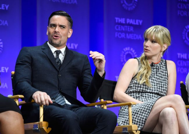 """HOLLYWOOD, CA - MARCH 13:  Actors Mark Salling and Heather Morris on stage at  The Paley Center For Media's 32nd Annual PALEYFEST LA - """"Glee"""" at Dolby Theatre on March 13, 2015 in Hollywood, California.  (Photo by Frazer Harrison/Getty Images)"""