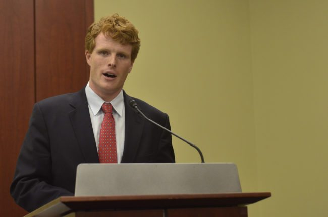 "WASHINGTON, DC- SEPTEMBER 30:  Representative Joseph Kennedy (D-MA) speaks during a private screening of ""Food Chains"" in the Capitol Visitors Center on September 30, 2015 in Washington, DC.   (Photo by Kris Connor/Getty Images for ""Food Chains"")"