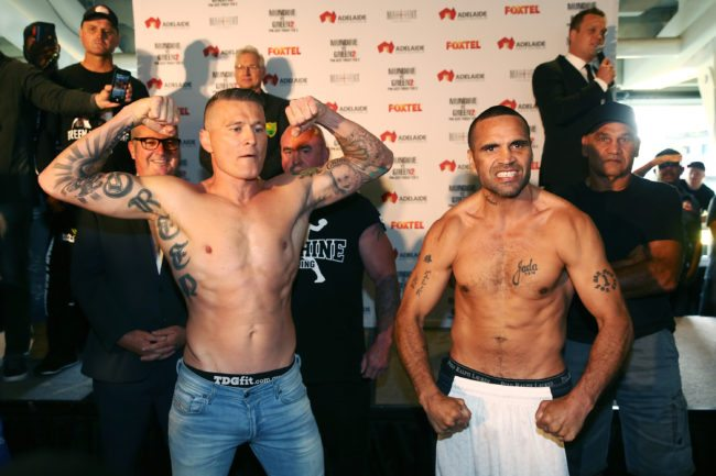 ADELAIDE, AUSTRALIA - FEBRUARY 02:  Australian boxers Danny Green and Anthony Mundine face off during the official weigh in ahead of their Friday night bout at Adelaide Oval on February 2, 2017 in Adelaide, Australia.  (Photo by Morne de Klerk/Getty Images)