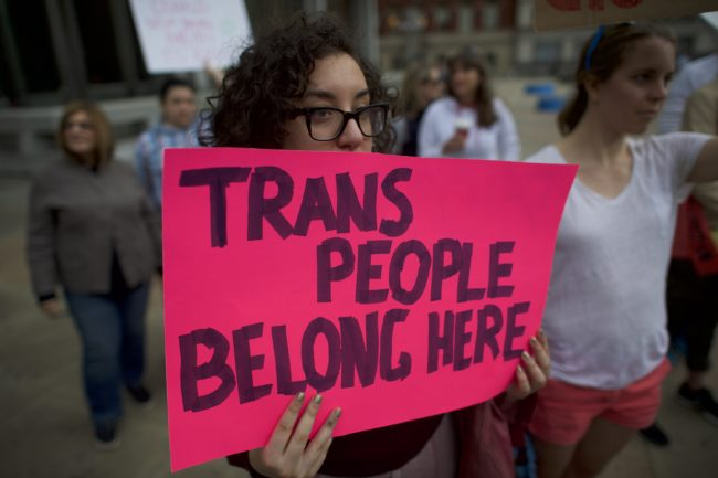PHILADELPHIA, PA - FEBRUARY 25: Protestors demonstrate during a rally against the transgender bathroom rights repeal at Thomas Paine Plaza February 25, 2017 in Philadelphia, Pennsylvania. Rallies are also being held across the country in support of the Affordable Health Care Act. (Photo by Mark Makela/Getty Images)