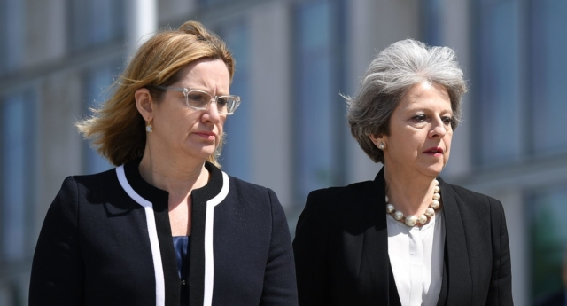 Home Secretary Amber Rudd and Prime Minister Theresa May (Photo by Leon Neal/Getty Images)