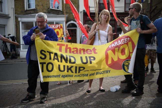 RAMSGATE, ENGLAND - JUNE 03: Anti-UKIP protesters demostrate outside a UKIP meeting ahead of a visit by Nigel Farage as he campaigns ahead of the general election on June 3, 2017 in Ramsgate, England. All parties continue to push the platforms of their party across the country ahead of the general election on June 8. (Photo by Carl Court/Getty Images)