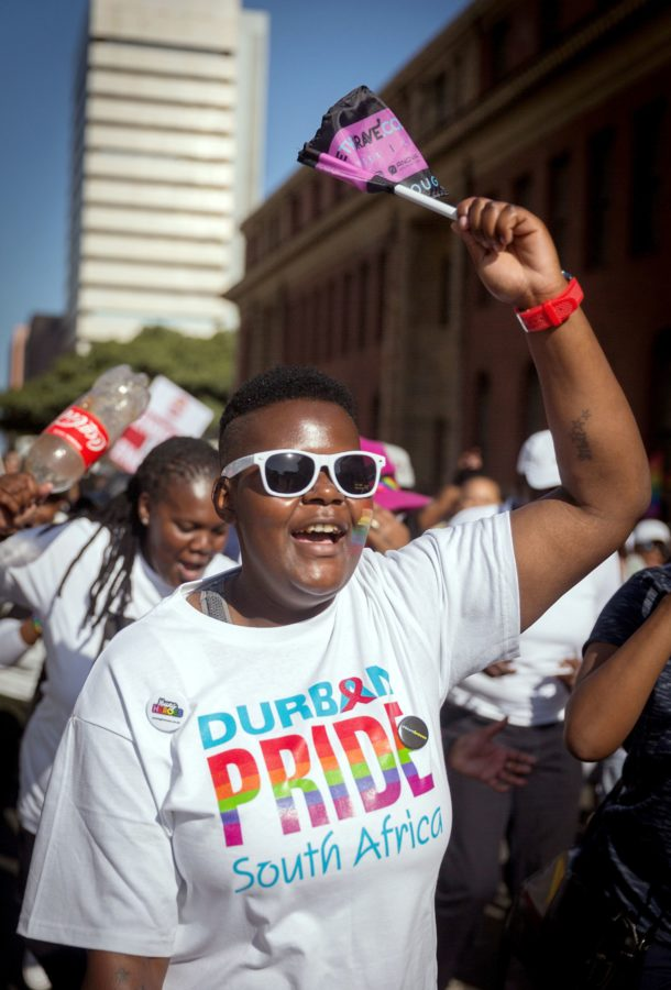 A woman chants slogans as members of the South African Lesbian, Gay, Bisexual and Transgender and Intersex (LGBTI) community take part in the annual Gay Pride Parade, as part of the three-day Durban Pride Festival, on June 24, 2017 in Durban. / AFP PHOTO / RAJESH JANTILAL (Photo credit should read RAJESH JANTILAL/AFP/Getty Images)