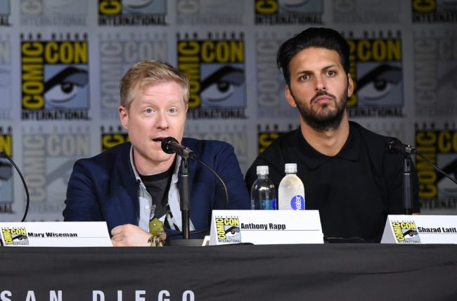 """SAN DIEGO, CA - JULY 22:  Anthony Rapp and Shazad Latif attend """"Star Trek: Discovery"""" panel during Comic-Con International 2017 at San Diego Convention Center on July 22, 2017 in San Diego, California.  (Photo by Mike Coppola/Getty Images)"""