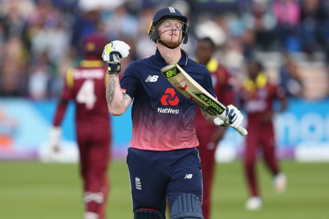 BRISTOL, ENGLAND - SEPTEMBER 24: Ben Stokes of England shows his frustration after being dismissed off the bowling of Rovman Powell for 73 runs during the third Royal London One Day International match between England and West Indies at The Brightside Ground on September 24, 2017 in Bristol, England. (Photo by Michael Steele/Getty Images)