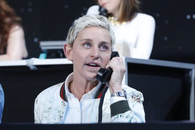 """LOS ANGELES, CA - OCTOBER 14: In this handout photo provided by One Voice: Somos Live!, Ellen DeGeneres participates in the phone bank during """"One Voice: Somos Live! A Concert For Disaster Relief"""" at the Universal Studios Lot on October 14, 2017 in Los Angeles, California. Marisa Tomei (Photo by Evans Vestal Ward /NBCUniversal/One Voice: Somos Live!/Getty Images)"""
