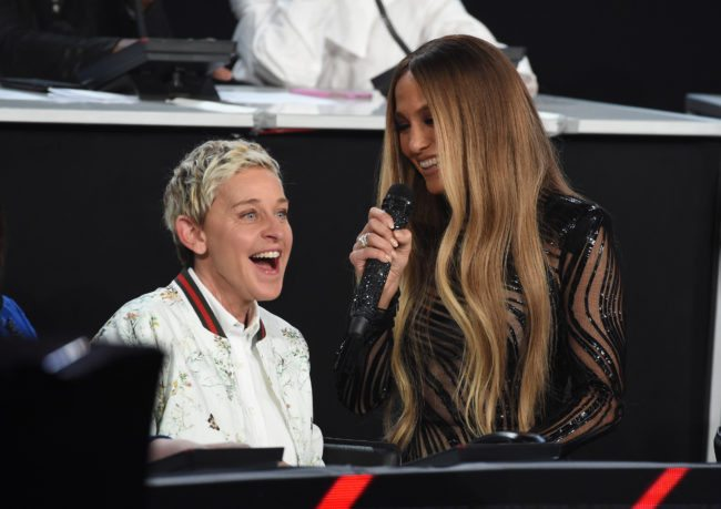 """LOS ANGELES, CA - OCTOBER 14:  In this handout photo provided by One Voice: Somos Live!, Ellen DeGeneres and singer Jennifer Lopez speak onstage during """"One Voice: Somos Live! A Concert For Disaster Relief"""" at the Universal Studios Lot on October 14, 2017 in Los Angeles, California.  (Photo by Kevin Winter/One Voice: Somos Live!/Getty Images)"""