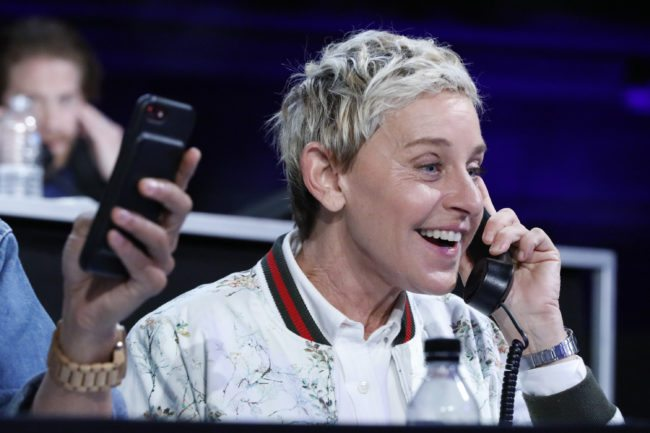 "LOS ANGELES, CA - OCTOBER 14: In this handout photo provided by One Voice: Somos Live!, Ellen DeGeneres participates in the phone bank during ""One Voice: Somos Live! A Concert For Disaster Relief"" at the Universal Studios Lot on October 14, 2017 in Los Angeles, California. (Photo by Evans Vestal Ward /NBCUniversal/One Voice: Somos Live!/Getty Images)"