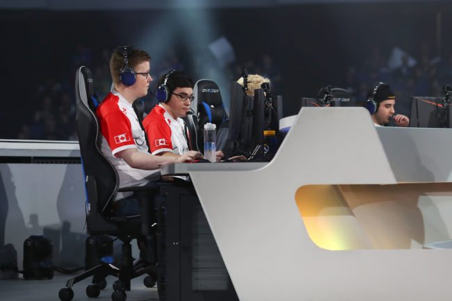 ANAHEIM, CA - NOVEMBER 3:  Team Canada competes with Team Australia during the Overwatch World Cup at BlizzCon 2017 at Anaheim Convention Center on November 3, 2017 in Anaheim, California. (Photo by Joe Scarnici/Getty Images)