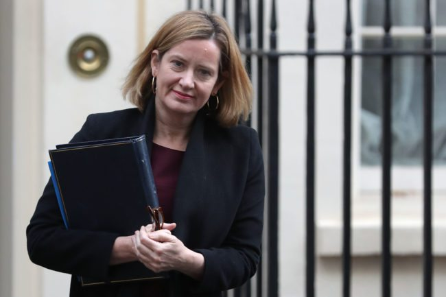 Britain's Home Secretary Amber Rudd leaves number 10 Downing Street in central London on December 19, 2017. / AFP PHOTO / Daniel LEAL-OLIVAS        (Photo credit should read DANIEL LEAL-OLIVAS/AFP/Getty Images)