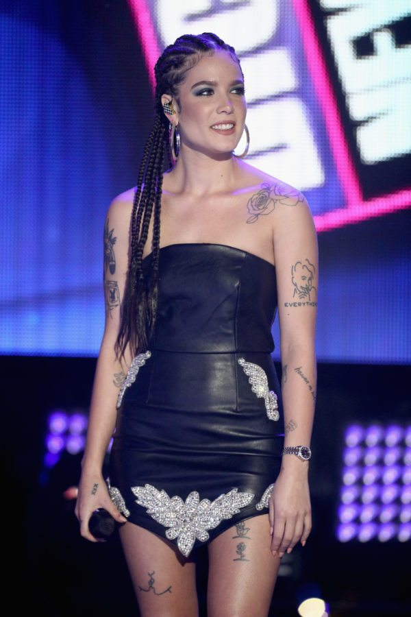 LOS ANGELES, CA - DECEMBER 31:  Halsey performs onstage during Dick Clark's New Year's Rockin' Eve with Ryan Seacrest 2018 on December 31, 2017 in Los Angeles, California.  (Photo by Frederick M. Brown/Getty Images for dcp)