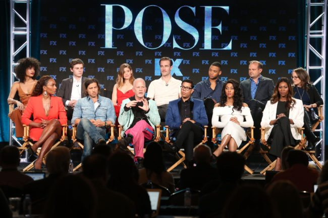 PASADENA, CA - JANUARY 05:  (L-R, Back Row) Actors Indya Moore, Evan Peters, Kate Mara, James Van der Beek, Ryan Jamaal Swain, executive producer Brad Simpson and executive producer Nina Jacobson, (l-r, front row) producer/writer Janet Mock, co-creator/executive producer/writer Brad Falchuk, co-creator/showrunner/executive producer/writer/director Ryan Murphy, co-creator/executive producer/writer Steven Canals and actors MJ Rodriguez and Dominique Jackson of the television show POSE speak onstage during the FOX/FX Networks portion of the 2018 Winter Television Critics Association Press Tour at The Langham Huntington, Pasadena on January 5, 2018 in Pasadena, California.  (Photo by Frederick M. Brown/Getty Images)