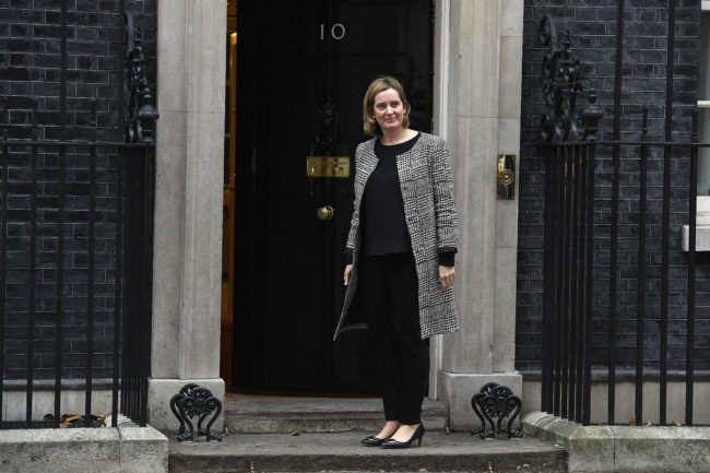 LONDON, ENGLAND - JANUARY 08:  Current Home Secretary, Amber Rudd arrives at 10 Downing Street as Prime Minister Theresa May Reshuffles her cabinet on January 8, 2018 in London, England. Today's Cabinet reshuffle is Theresa May's third since becoming Prime Minister in July 2016 and was triggered after she sacked first secretary of state and close friend Damian Green before Christmas.  (Photo by Leon Neal/Getty Images)