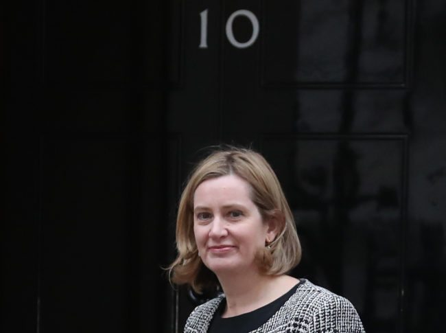 Britain's Home Secretary Amber Rudd arrives at 10 Downing street in London on January 8, 2018. British Prime Minister Theresa May began a major reshuffle of her cabinet by replacing the chairman of her Conservative Party, ahead of more ministerial changes expected later today. / AFP PHOTO / Daniel LEAL-OLIVAS        (Photo credit should read DANIEL LEAL-OLIVAS/AFP/Getty Images)