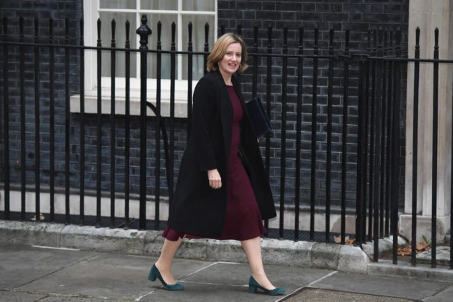 LONDON, ENGLAND - JANUARY 09:  Home Secretary Amber Rudd arrives as goverment ministers attend the first Cabinet meeting of the year at 10 Downing Street on January 9, 2018 in London, England.  Theresa May's reshuffled cabinet meets for the first time today.  Justine Greening quit the government last night after being moved from Education, she is replaced by Damian Hinds.  Health Secretary Jeremy Hunt's role has been extended to include social care, Esther McVey becomes Work and Pensions Secretary and Karen Bradley replaces James Brokenshire as Northern Ireland Secretary.  (Photo by Leon Neal/Getty Images)
