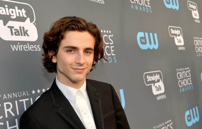 SANTA MONICA, CA - JANUARY 11: Actor Timothee Chalamet attends The 23rd Annual Critics' Choice Awards at Barker Hangar on January 11, 2018 in Santa Monica, California. (Photo by Matt Winkelmeyer/Getty Images for The Critics' Choice Awards )