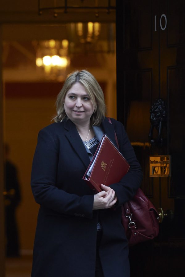 Britain's Northern Ireland Secretary Karen Bradley leaves 10 Downing street in central London after a cabinet meeting on January 16, 2018.  / AFP PHOTO / Niklas HALLE'N        (Photo credit should read NIKLAS HALLE'N/AFP/Getty Images)