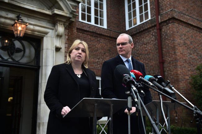BELFAST, NORTHERN IRELAND - JANUARY 18: NI Secretary of State Karen Bradley holds a press conference alongside Simon Coveney, Irish Foreign Affairs Minister outside Stormont House at Stormont on January 18, 2018 in Belfast, Northern Ireland. New talks between the five main Northern Ireland parties including the DUP and Sinn Fein will begin next week in an attempt to see a return of the Northern Ireland Assembly government. Northern Ireland has been without a government since the resignation of Deputy First Minister, the late Martin McGuinness over a year ago. (Photo by Charles McQuillan/Getty Images)