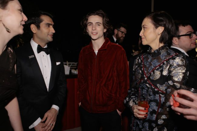 WEST HOLLYWOOD, CA - JANUARY 21: In this handout photo provided by Netflix, writer Emily V. Gordon, actor Kumail Nanjiani, Timothee Chalamet and casting director Carmen Cuba attends the Netflix Hosts The SAG After Party At The Sunset Tower Hotel on January 21, 2018 in West Hollywood, California. (Photo by Netflix via Getty Images)