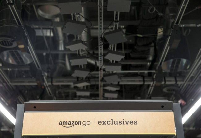 SEATTLE, WA - JANUARY 22: Cameras and sensors to tack shoppers purchases line the ceiling in the Amazon Go January 22, 2018 in Seattle, Washington. After more than a year in beta Amazon opened the cashier-less store to the public. (Photo by Stephen Brashear/Getty Images)