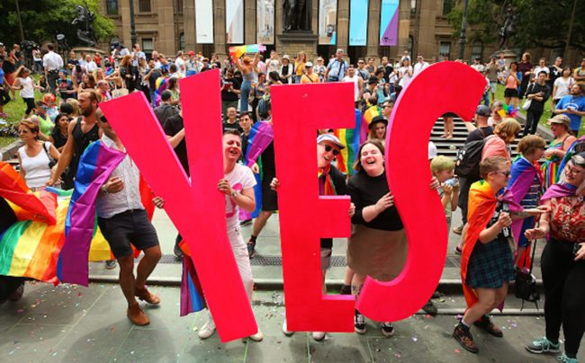 Australians celebrate legalising gay marriage in Melbourne (Photo by Scott Barbour/Getty Images)