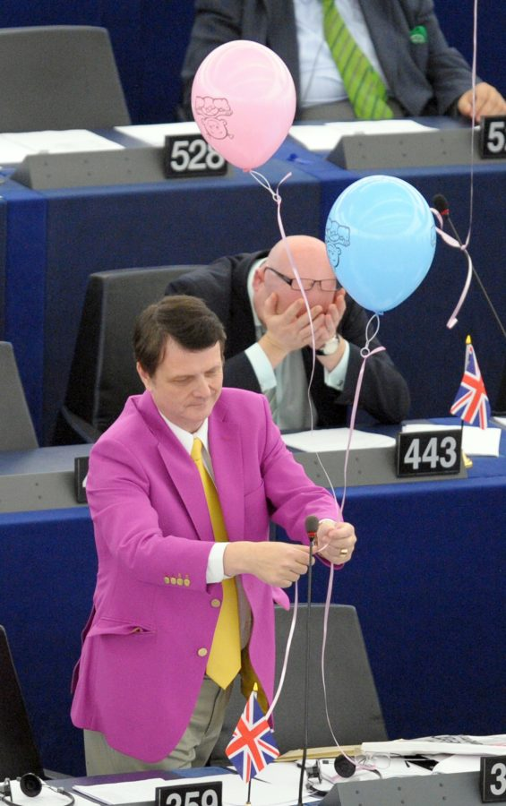 British European deputy Gerard Batten attends on October 20, 2010 at the European Parliament in the northeastern French city of Strasbourg a vote in favor of raising maternity leave from 14 to 20 weeks while giving fathers across the 27-nation bloc two weeks to spend time with their newborn. European lawmakers gave their blessing to hotly contested plans for all new mothers across Europe to have five months of maternity leave. Some governments have warned the 20-week fully paid leave will add a huge burden to hard-pressed taxpayers, while business leaders say it may work against giving jobs to women in the long term.    AFP PHOTO / FREDERICK FLORIN        (Photo credit should read FREDERICK FLORIN/AFP/Getty Images)