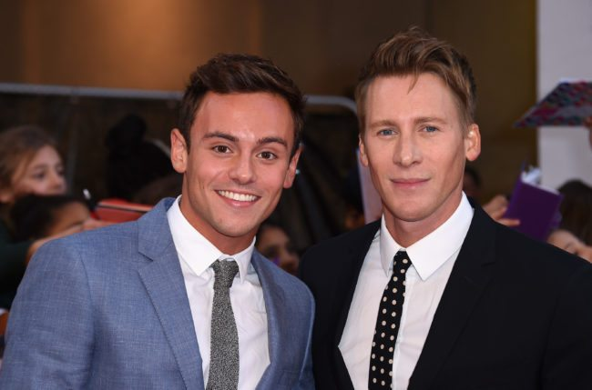 Tom Daley and Dustin Lance Black (Photo by Gareth Cattermole/Getty Images)